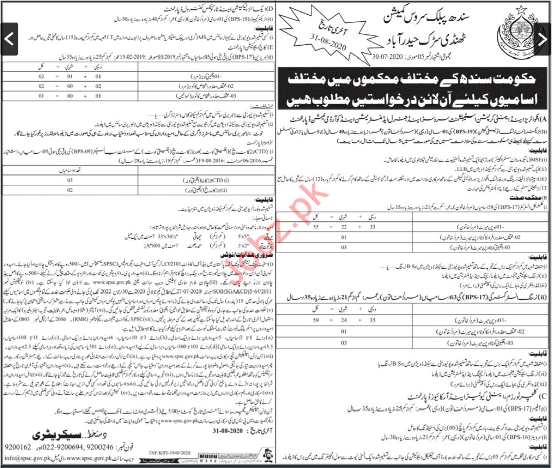Sindh Public Service Commission SPSC Jobs for Instructors