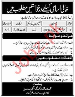 Pak Army 56 Punjab Regiment Malir Cantt Jobs 2020
