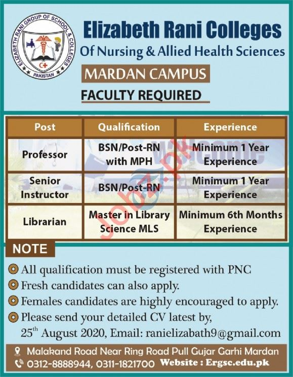 Elizabeth Rani College of Nursing Mardan Jobs 2020
