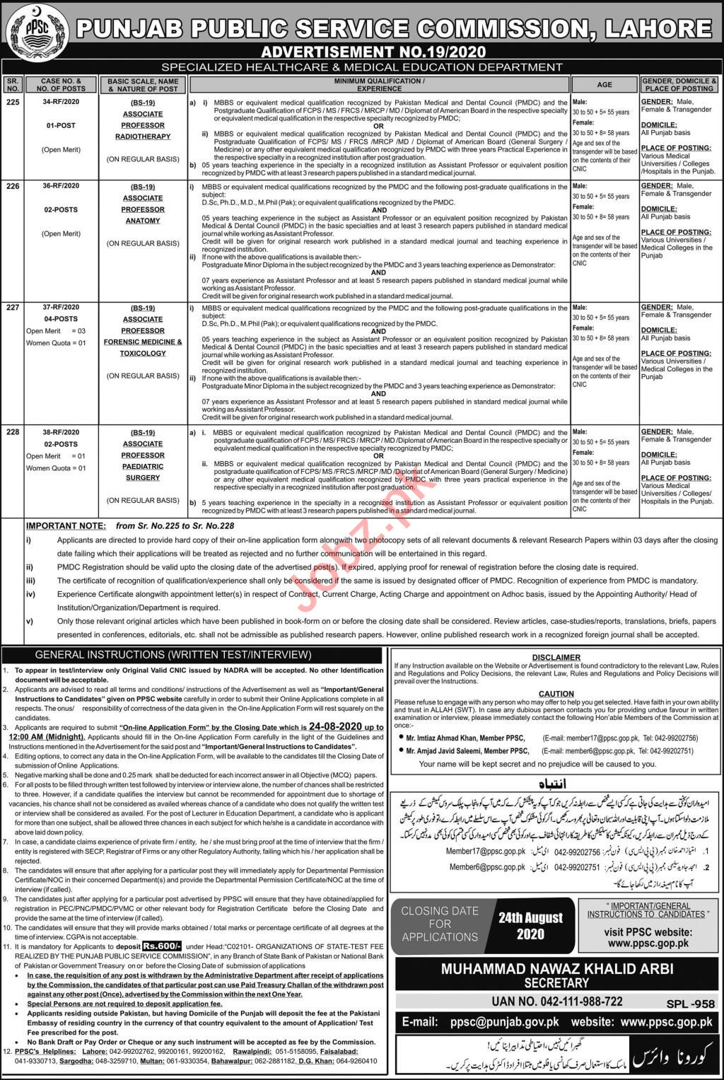 Specialized Healthcare & Medical Education PPSC Jobs 2020