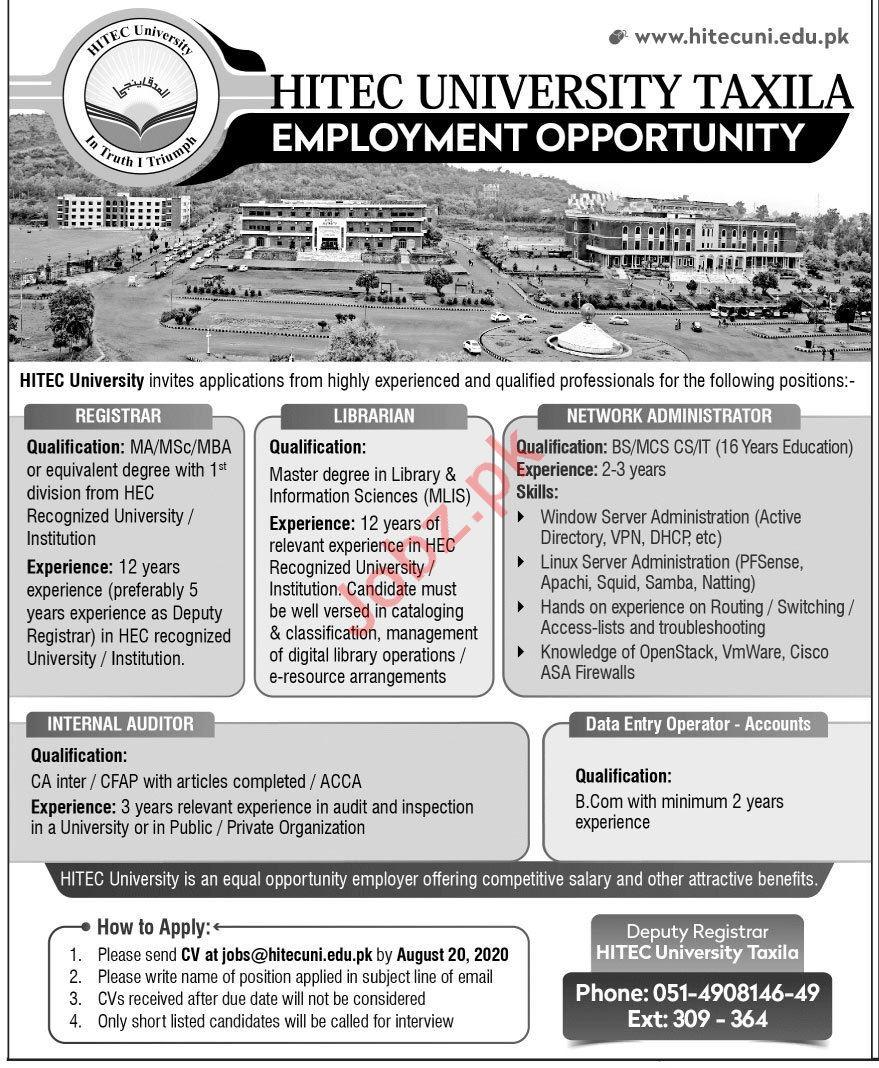 HITEC University Taxila Cantt Jobs for Registrar & Librarian