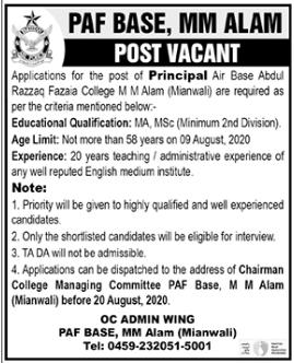 PAF Fazaia College Job 2020 For Principal in Mianwali