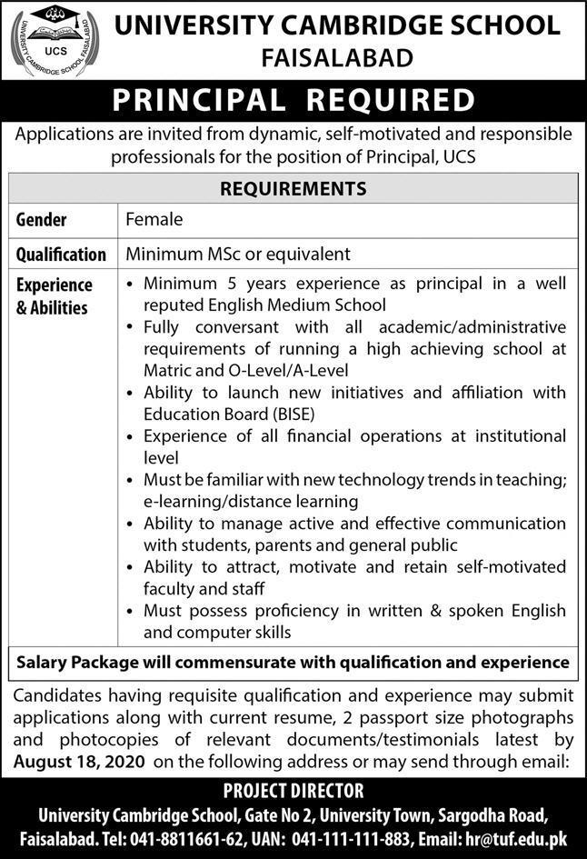 University of Cambridge School UCS Job 2020 For Principal