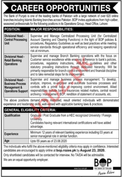 Divisional Head Jobs 2020 in Bank of Punjab BOP Lahore