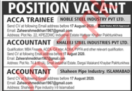 ACCA Trainee & Accountant Jobs 2020 in Islamabad
