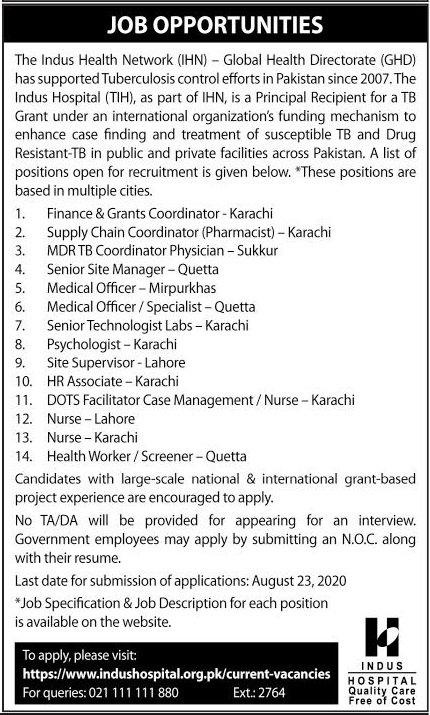 Indus Health Network Global Health Directorate Jobs 2020