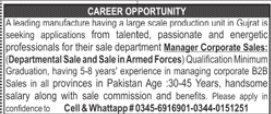 Manager Corporate Sales Job 2020 in Gujrat