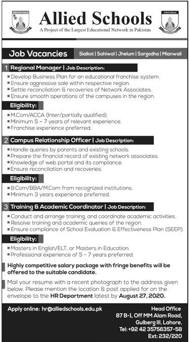 Allied Schools Non Faculty Staff Jobs 2020
