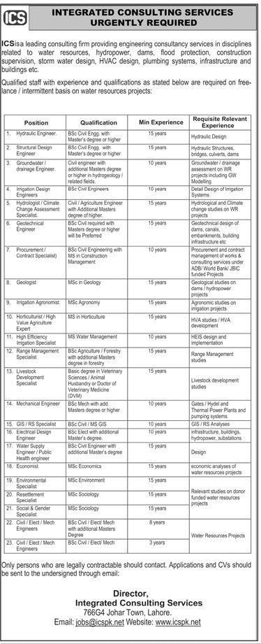 Integrated Consulting Services ICS Jobs 2020 in Lahore