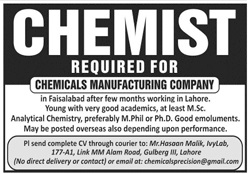 Chemicals Manufacturing Company Job 2020 in Faisalabad