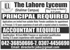 The Lahore Lyceum Shalimar Campus Jobs 2020