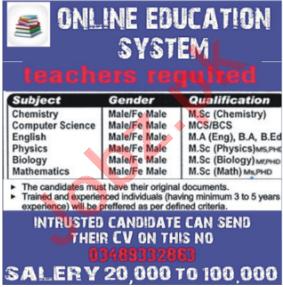 Chemistry Teacher & Mathematics Teacher Jobs 2020