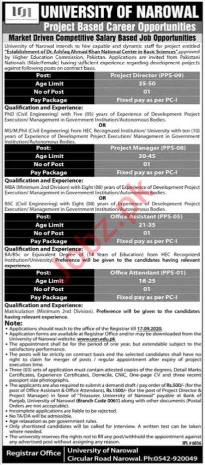 University of Narowal UON Jobs 2020 for Project Directors