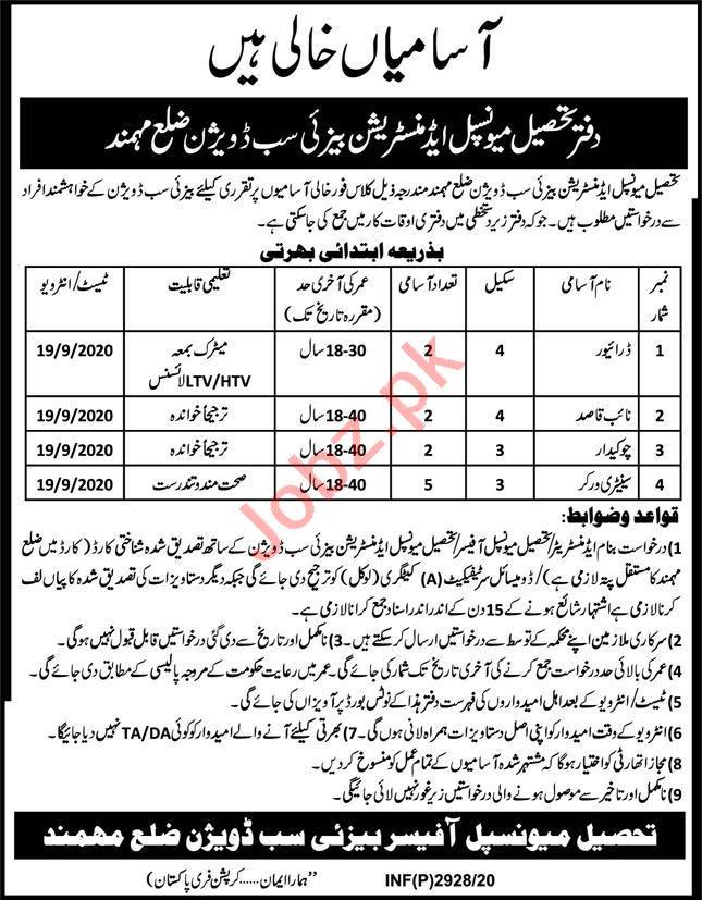 Tehsil Municipal Administration TMA Mohmand Jobs 2020