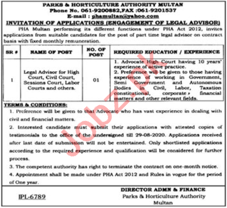 Legal Advisor Jobs 2020 in Parks & Horticulture Authority