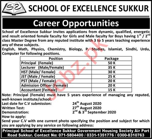 School Of Excellence Sukkur Jobs for Principal & Lecturer