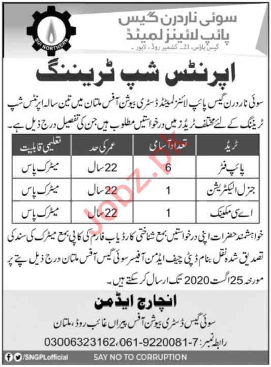 SNGPL Apprenticeship Program Multan 2020 for Pipe Fitter