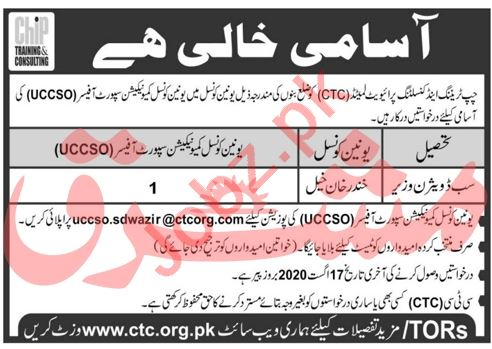 CHIP Training & Consulting CTC Bannu Jobs 2020