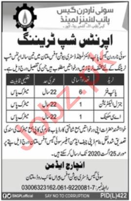 SNGPL Apprenticeship Multan 2020 Electrician & AC Mechanic