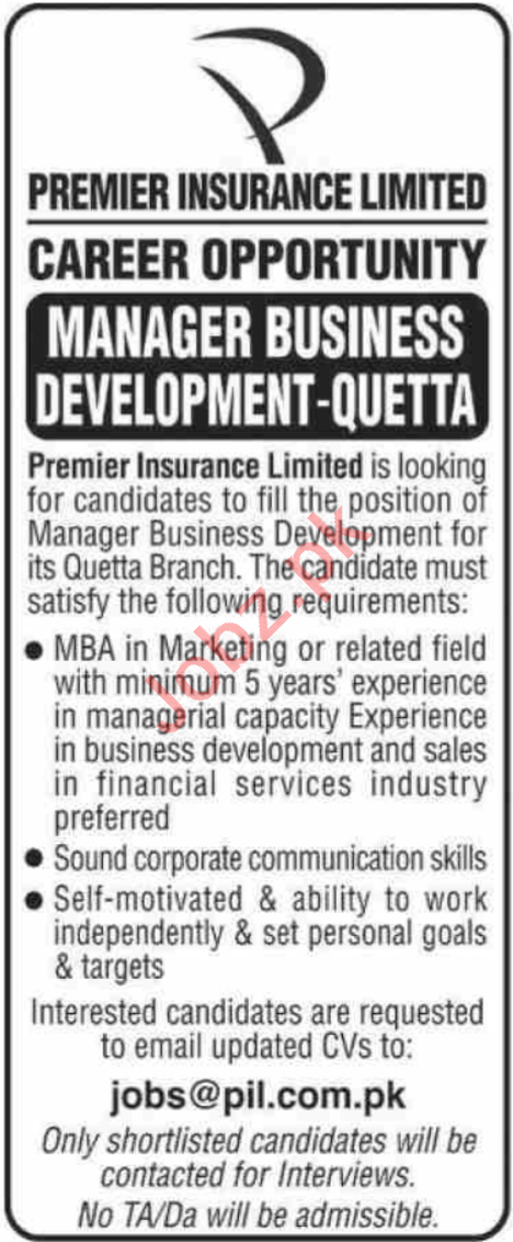 Premier Insurance Quetta Jobs 2020 for Manager