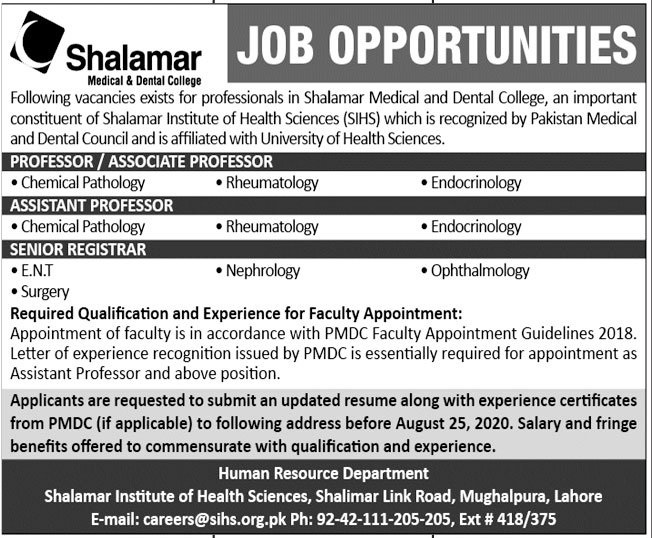 Shalamar Medical & Dental College Faculty Jobs 2020
