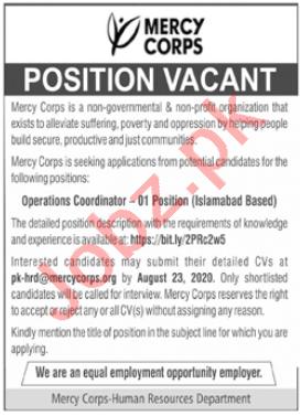 Mercy Corps Pakistan Jobs 2020 for Operations Coordinator