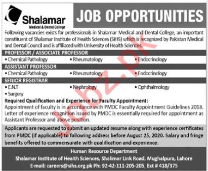 Shalamar Medical & Dental College Lahore Jobs 2020