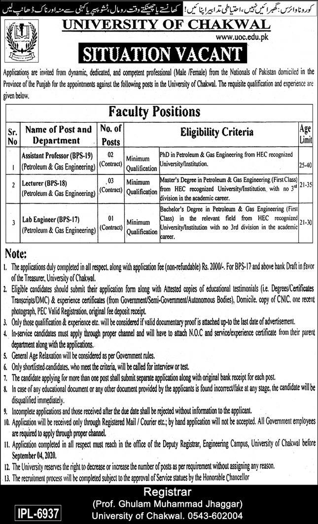University of Chakwal Faculty & Non Faculty Jobs 2020