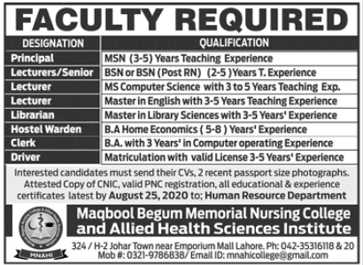 Allied Health Sciences Institute Faculty Jobs 2020