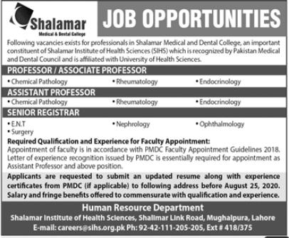 Shalamar Medical & Dental College Medical Faculty Jobs 2020