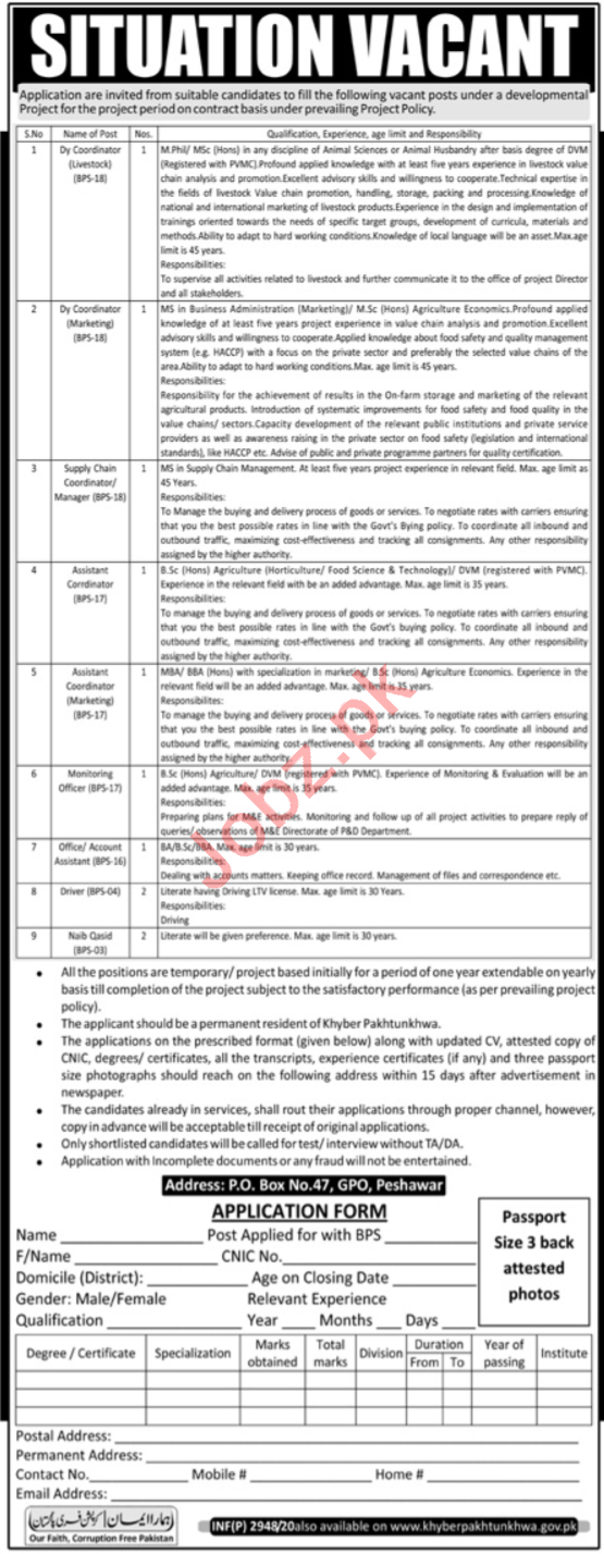 P O Box No 47 GPO Peshawar Jobs 2020 for Coordinator