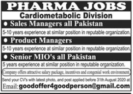 Pharma Staff Jobs 2020 in Lahore
