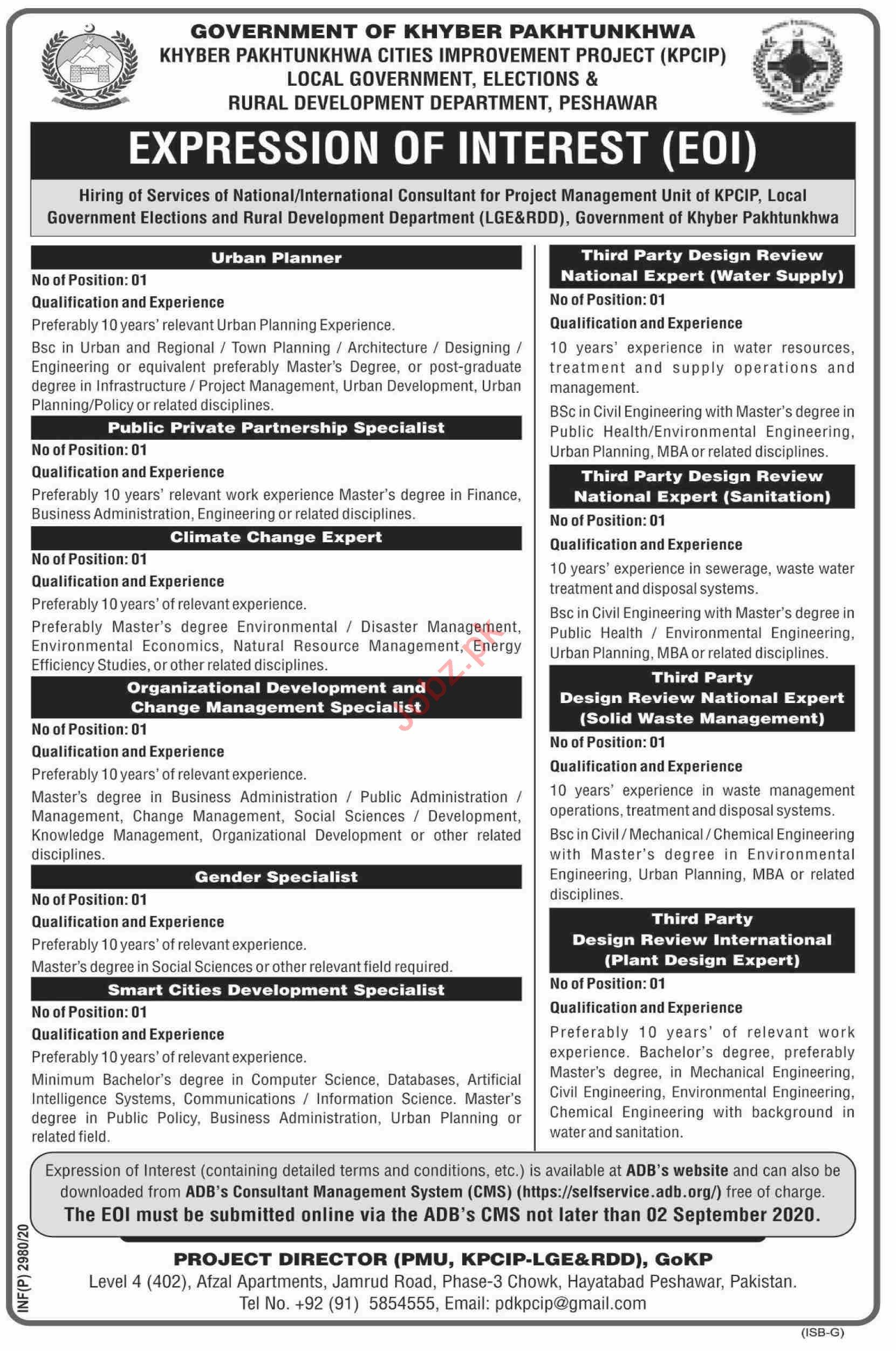 Khyber Pakhtunkhwa Cities Improvement Projects KPCIP Jobs