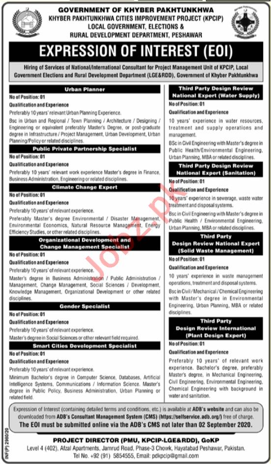 KPCIP LGE&RDD Peshawar Jobs 2020 for Gender Specialist