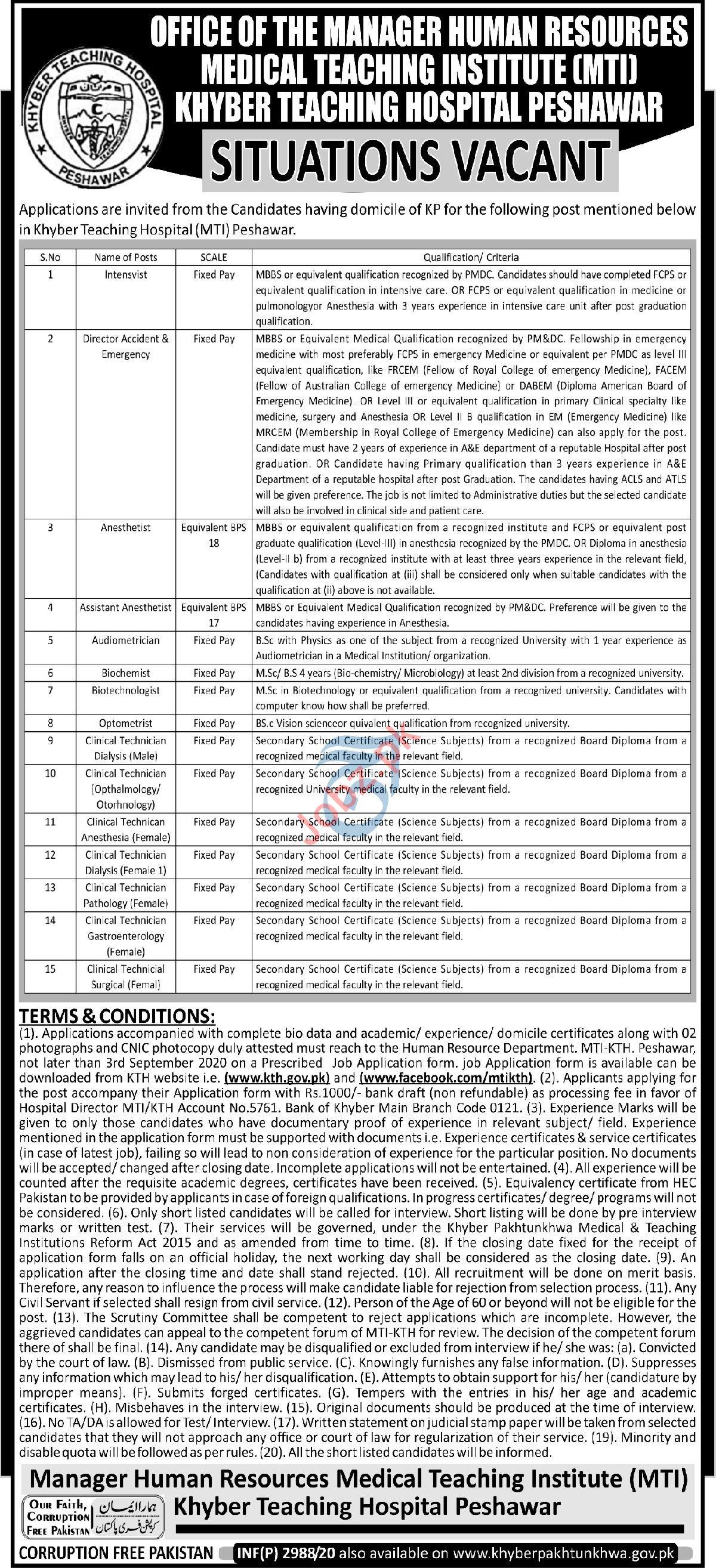 Khyber Teaching Hospital KTH MTI Peshawar Jobs 2020