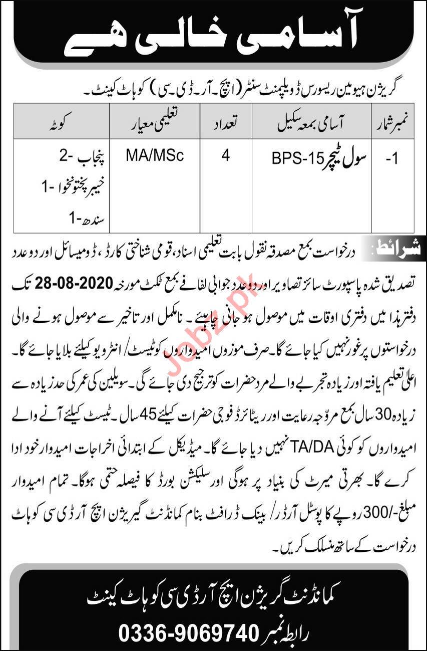 Pak Army HRDC Kohat Cantt Jobs 2020 for Civil Teacher