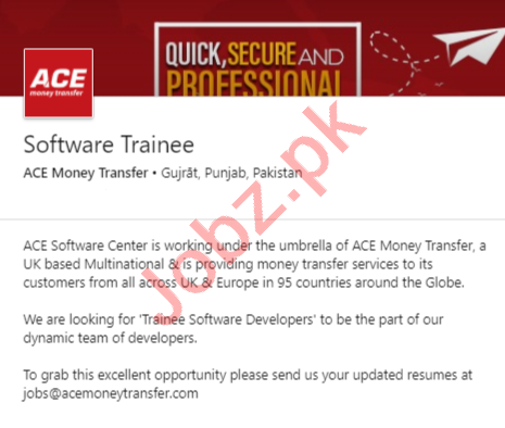 ACE Money Transfer Gujrat Jobs 2020 for Software Trainee