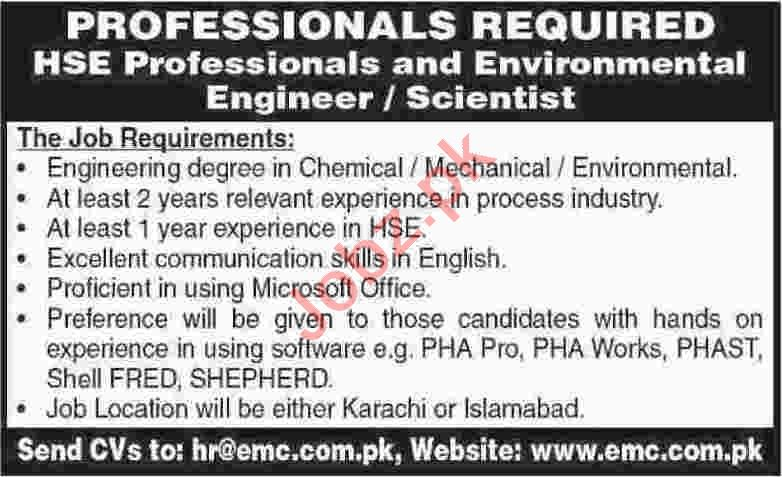 HSE Engineer & Environmental Engineer Jobs 2020 in Karachi