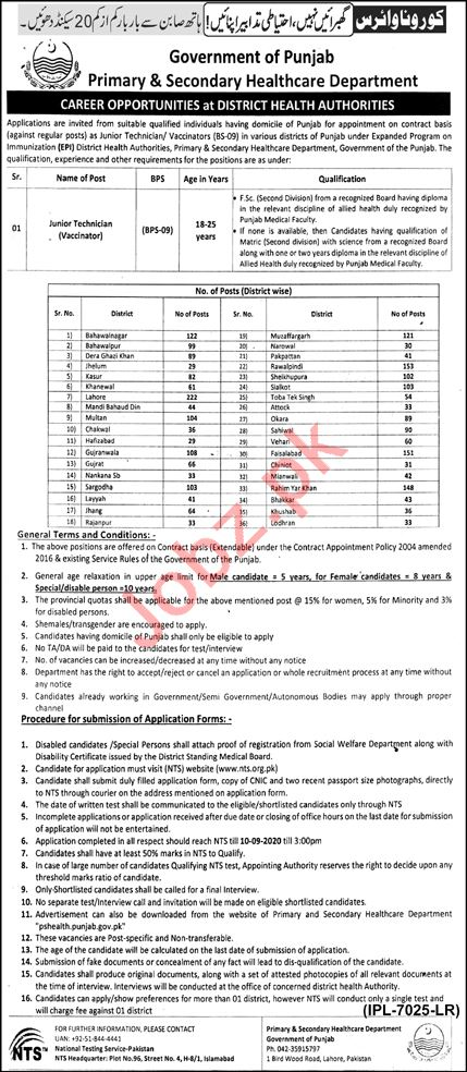 District Health Authority Punjab Jobs 2020 for Vaccinator