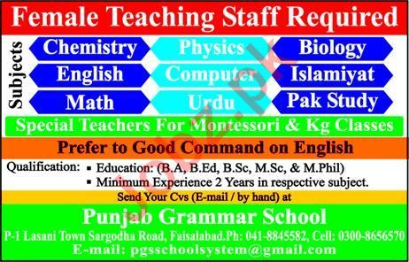 Female Teaching Staff Jobs in Punjab Grammar School