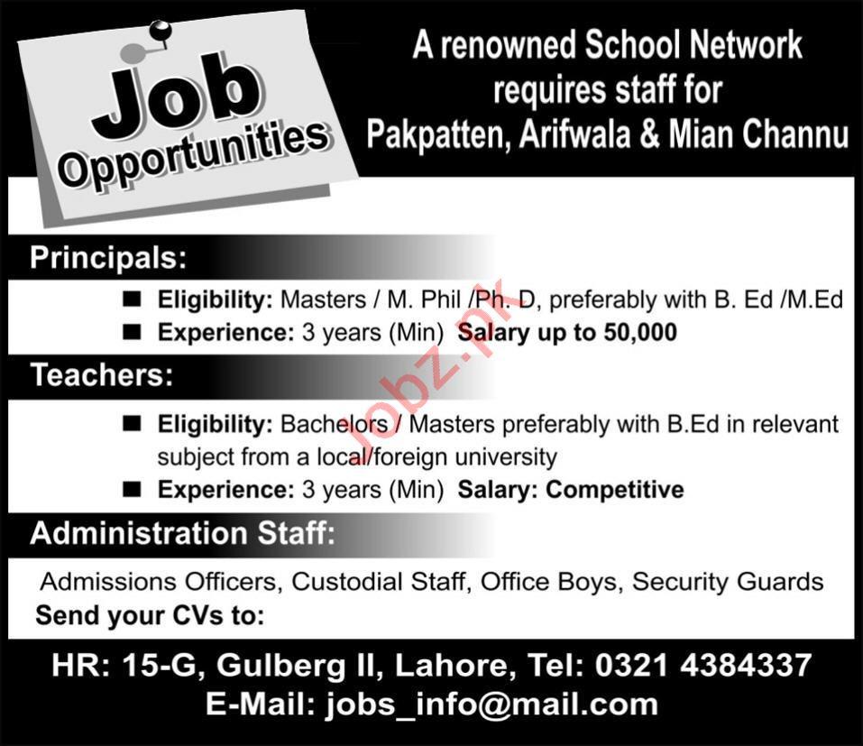 Principal & Admission Officer Jobs 2020