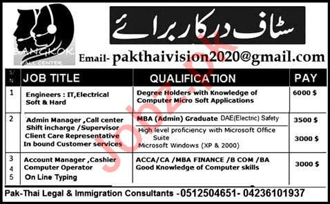 Engineer & Admin Manager Jobs 2020 in Lahore
