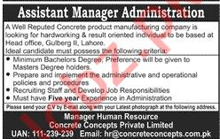 Assistant Manager Administration Jobs in Concrete Concept