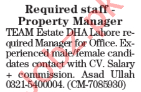 The Team Estate & Constructions Lahore Jobs 2020 for Manager