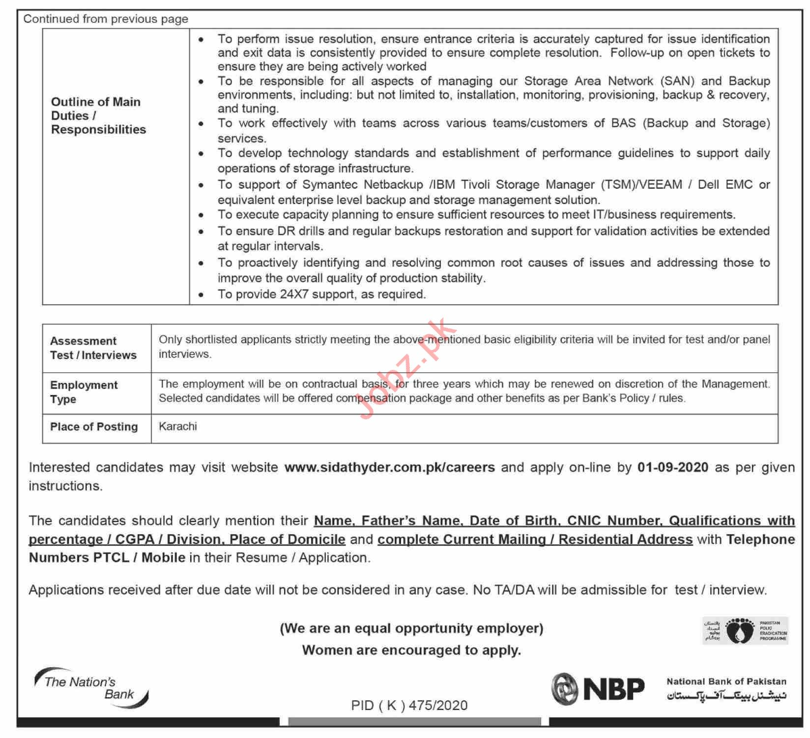 National Bank of Pakistan NBP Karachi Jobs 2020