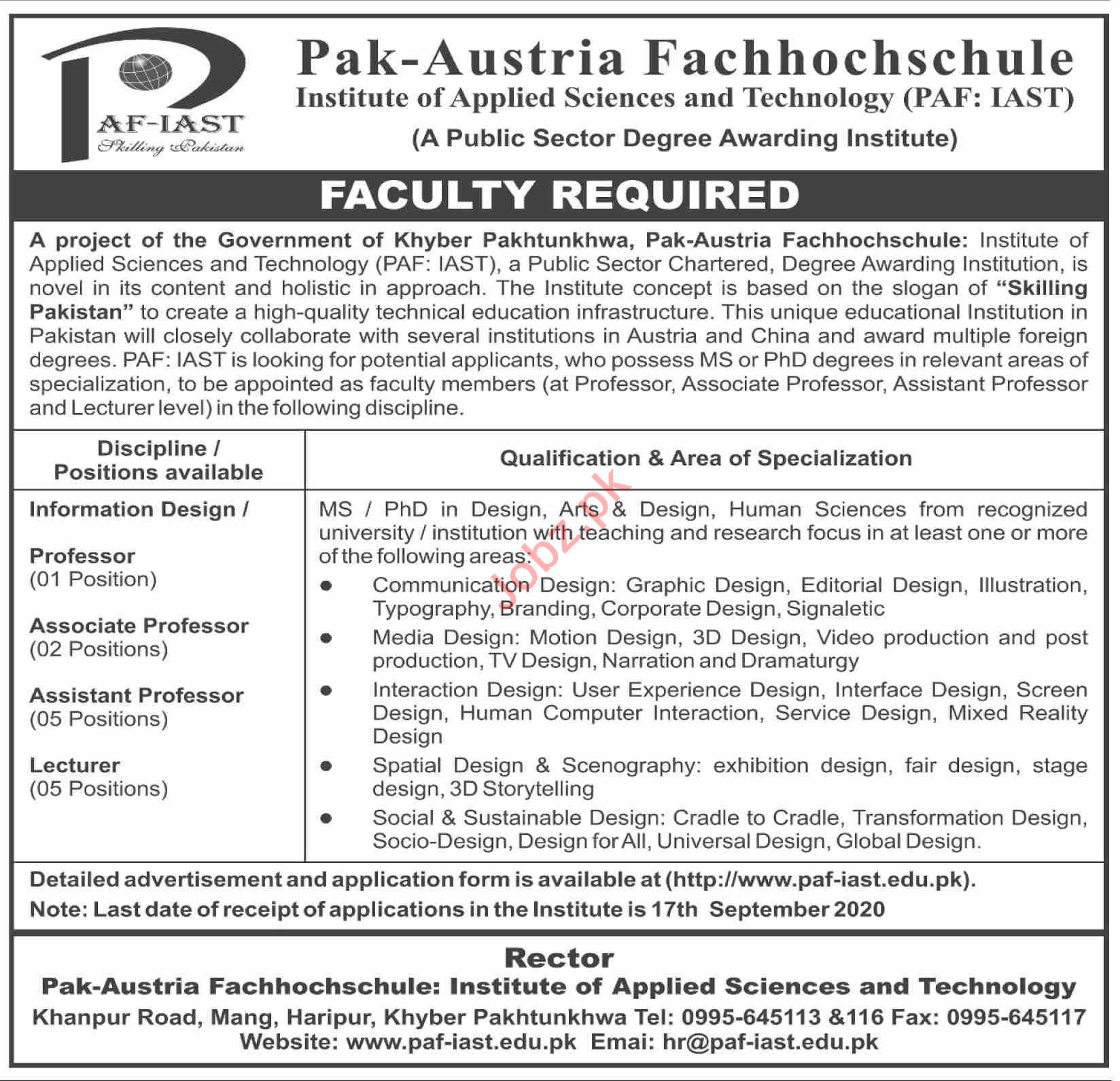 PAF IAST Institute of Applied Sciences & Technology Jobs