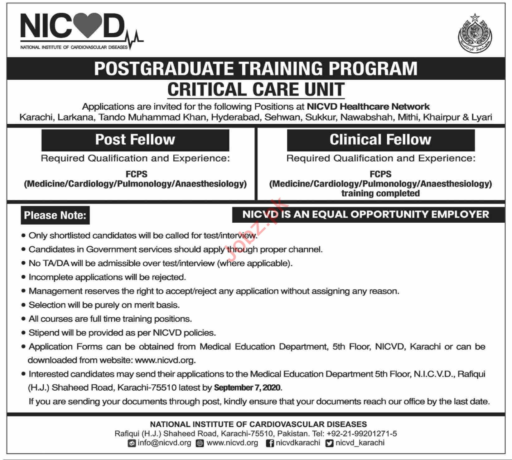 NICVD Healthcare Network Sindh Jobs for Clinical Fellow