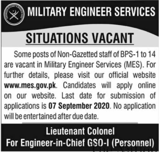 Military Engineer Services MES Jobs 2020 in Rawalpindi