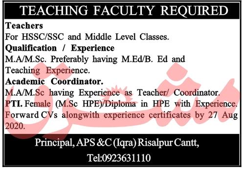 Army Public School & College Jobs 2020 in Risalpur Cantt