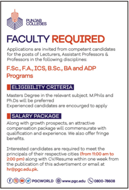 Punjab College Faculty Jobs 2020
